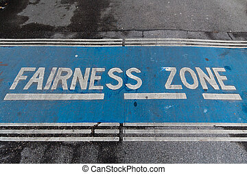 "Fairness zone - A sign of ""fairness zone"" on a pedestrians'..."