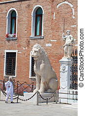 Statue of Arsenal, Venice - Lion and other Statue of...