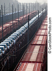 Freight transportation - Freight trains with different cargo...