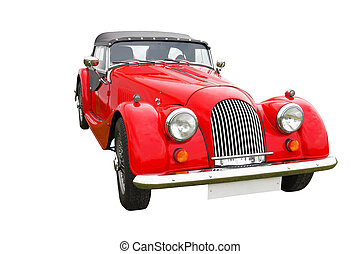 Red classic car isolated on white - Old vintage red classic...