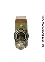 Old sovjet military toggle switch isolated on white...