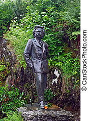 Statue of Edward Grieg near by his house in Bergen - Statue...