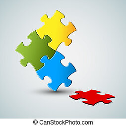 Abstract vector puzzle solution background with one missing...