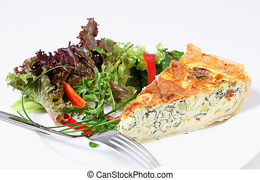 Quiche with salad horizontal