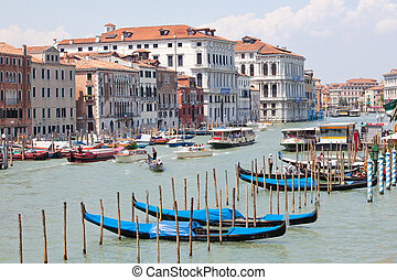 Gondolas parking in the traditional Venetian rowing boat