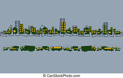 big city life - funny card with houses and cars