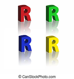 set of 3d bold alphabet with reflection on white background