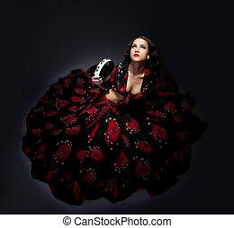 jovem, mulher, posar, flamenco, traje, isolado