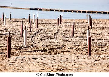 Beach before the summer season, Grado - Italy