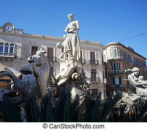 Fountain of Artemis, Syracuse - Fountain of Artemis, Ortigia...