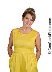 Woman Wearing Yellow Dress