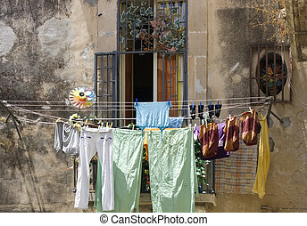 Drying laundry out of the balcony