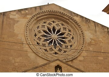 Rose window of church, Trapani - Sicily