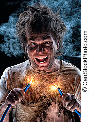 Crazy electricianjpg - Portrait of crazy electrician over...