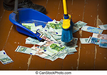 Sweeping euro money banknotes - Person sweeping euro money...