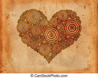 heart of tree rings old paper background - old paper...