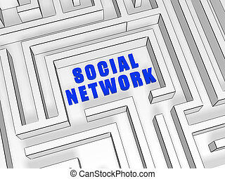 blue social network in labyrinth