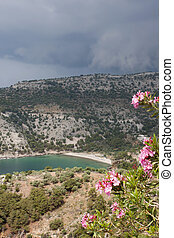 View of Livadi Beach from St Archangel Monastery - Thassos...