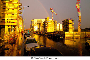 Rainbow in the city, Milan - Italy