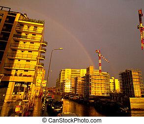 Rainbow in the city, Milan - Italy