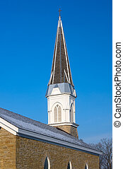 Church Bell Tower and Steeple in Mendota Minnesota - Church...