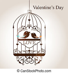 Bird cage - St Valentines day greeting card with birds