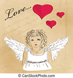 St Valentines day greeting card with angel