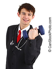 Doctor with a dumbell