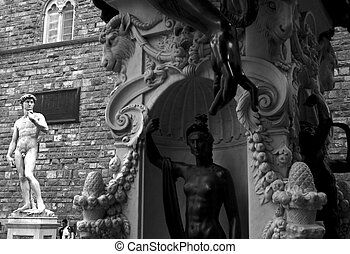 Perseus monument and david di michelangelo, Florence - Italy