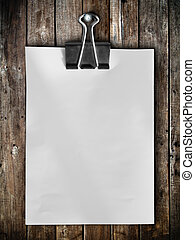 note paper hang on wood panel - Black clip and White blank...