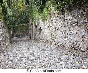 Old Staircase in the grove, Bergamo alta - Italy