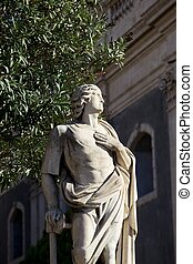 Statue un the balaustrade, Catania cathedral