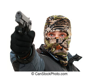 terrorist with mask aiming with his gun