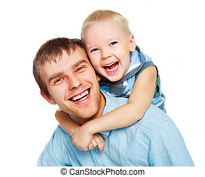 father with his little son - happy family, young father with...