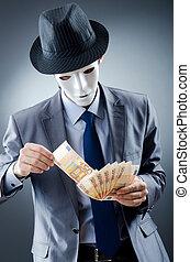 hombre de negocios, dinero, máscara