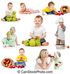 Cute children with healthy food apples Isolated on white...