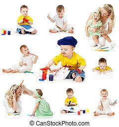 crianças, quadro, desenho, lápis, isolado,...