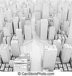 White skyscraper panorama