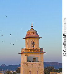 famous clocktower in Jaipur in sunset