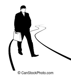 Pedestrian - The man with the bag goes on receding into the...