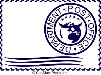 Postage stamp - The form of a postage stamp with the imprint...