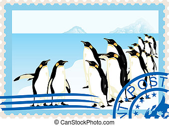 Postage stamp with penguins
