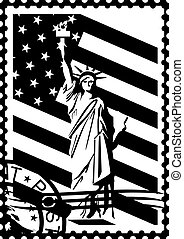 Postage stamp with the symbols of America. Black and white...
