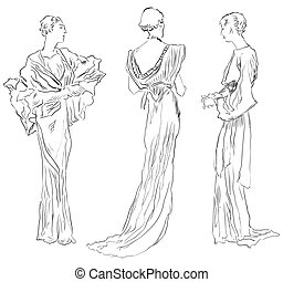Evening dresses - Three female figures in evening dresses...