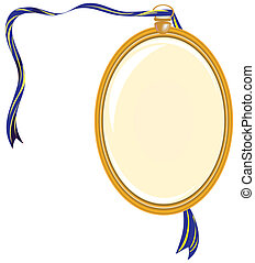 Gold medallion on a blue ribbon. Vector illustration.