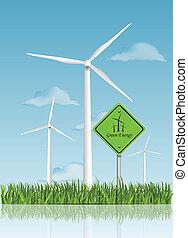 vento, campo, Turbinas, verde, Ilustração