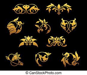 Vintage golden flowers
