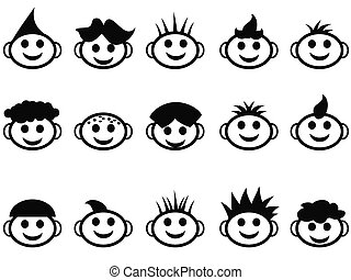 cartoon kids face with hair style icons - various cute...