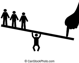 people balance on seesaw - the concept of people balance...