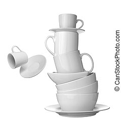 white cup, plate and dishes beverage drink food